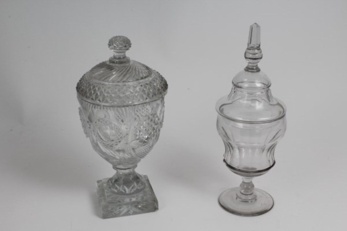 Lot 17 - George IV cut and moulded glass sweet jar and cover with hobnail and spiral-cut decoration,