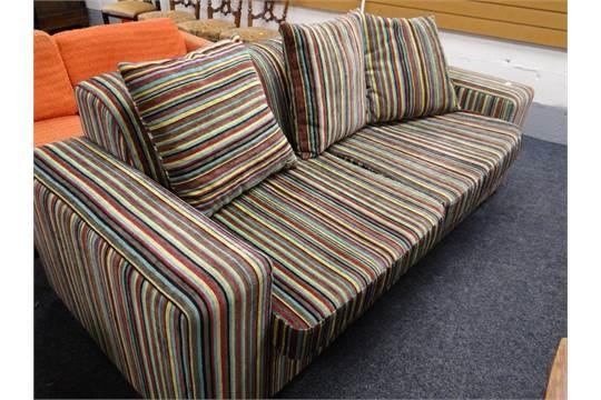 A Modern Striped Fabric Sofa Bed