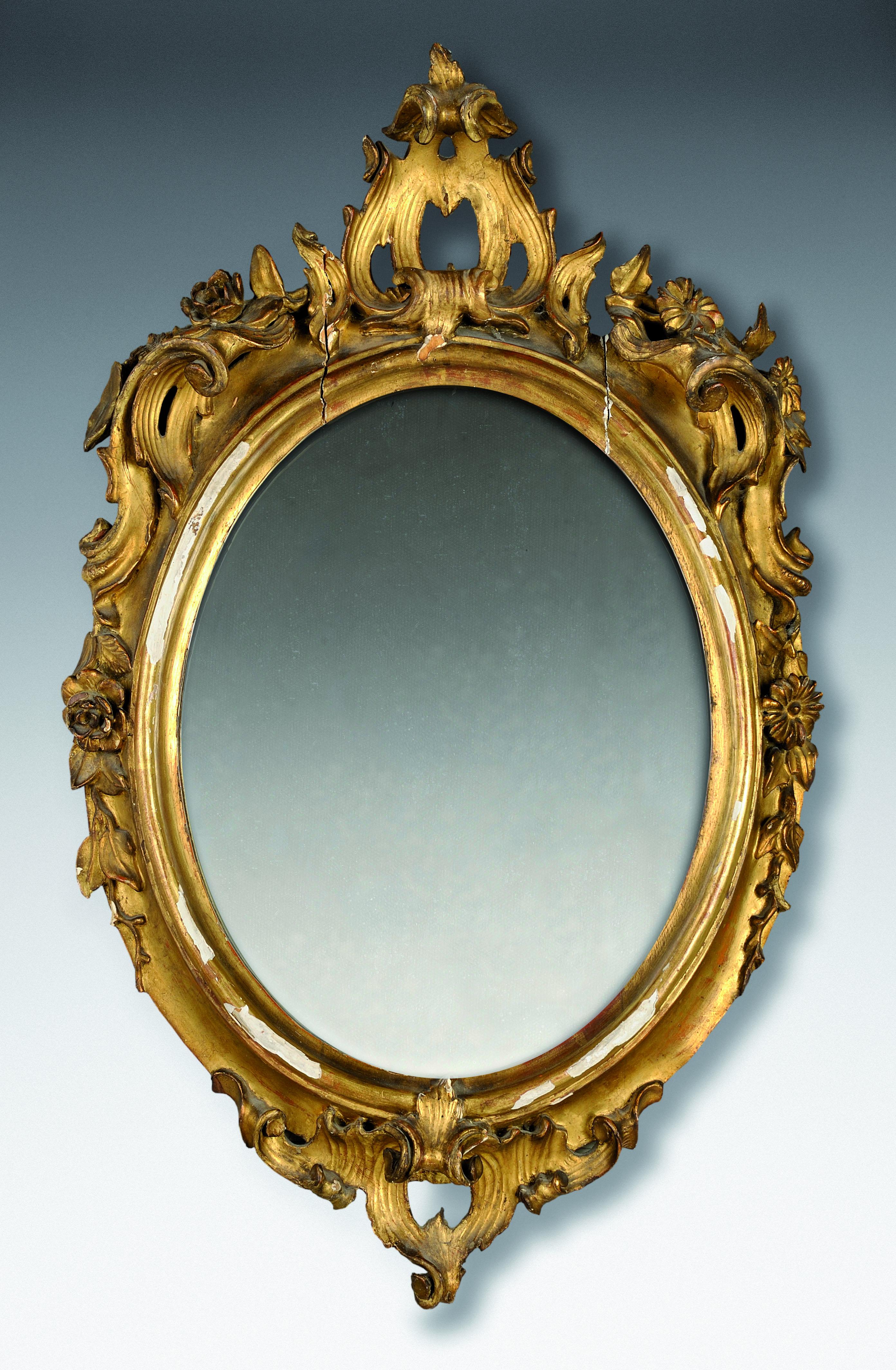 Cornice ovale in legno dorato con specchio lombardia - Specchio antico ovale ...