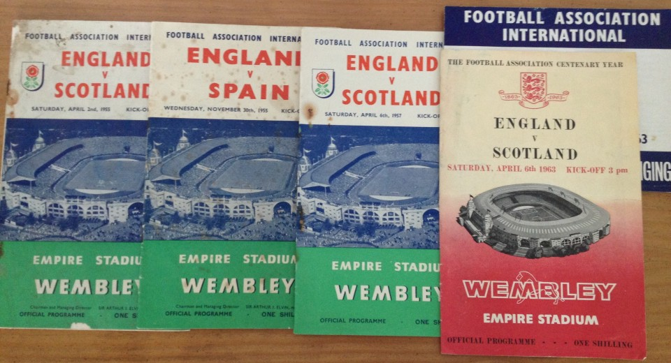 Lot 47 - 4 x 1955 to 1963 England International football programmes - all home at Wembley.