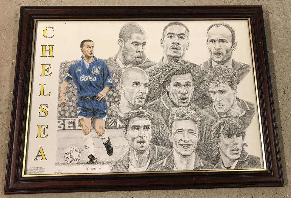 Lot 68 - Chelsea FC print of players c1996.