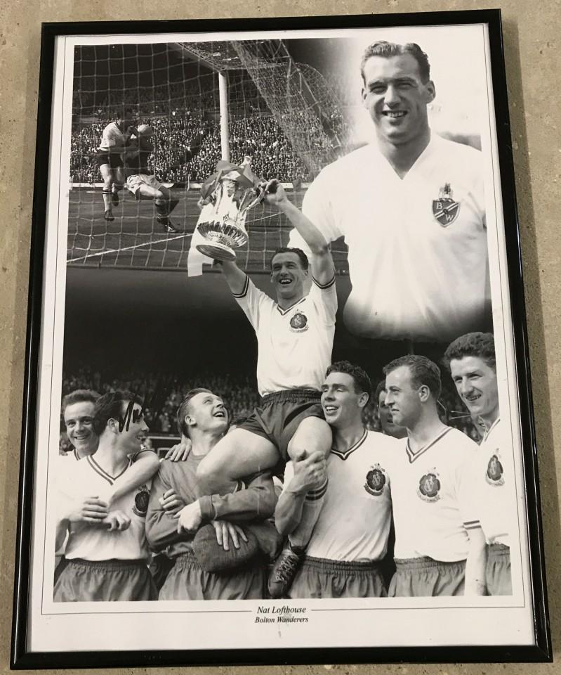 Lot 66 - Nat Lofthouse Bolton Wanderers signed montage photo.