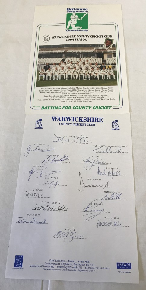 Lot 83 - Warwickshire County Cricket Club, set of team autographs from 1994 season.
