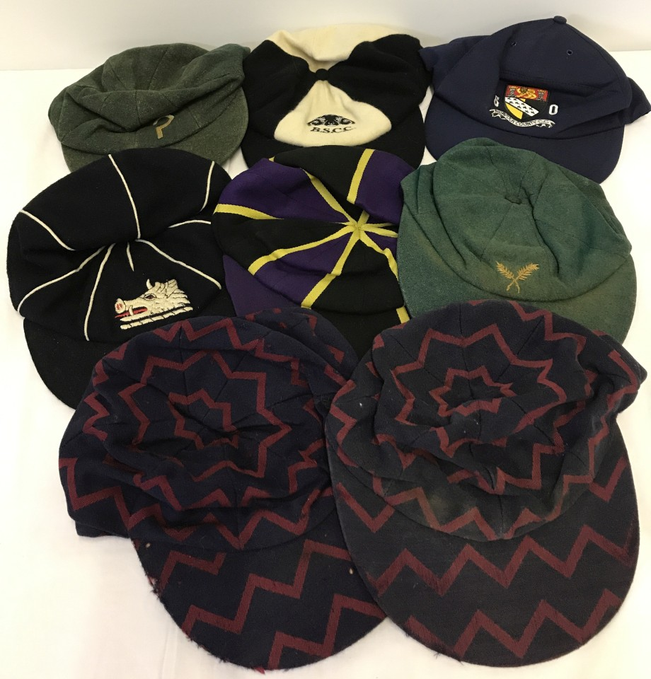 Lot 89 - 8 vintage and modern floppy cricket caps.