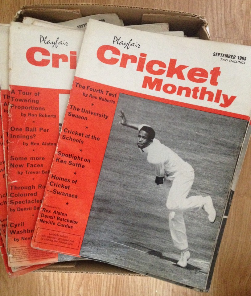 Lot 80 - 34 vintage Playfair Cricket Monthly magazines.