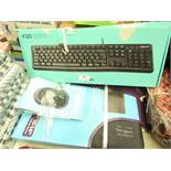 "2x Various Items Being : Logitech K120 - Keyboard - Untested & Boxed & 13/14"" Laptop Sleeve (Targus)"