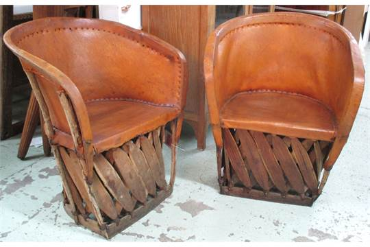 Auction date & MEXICAN CHAIRS a pair Equipale traditional Mexican with trellis ...