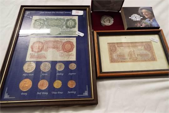 A framed set of Great British pre-decimal currency, framed British ...