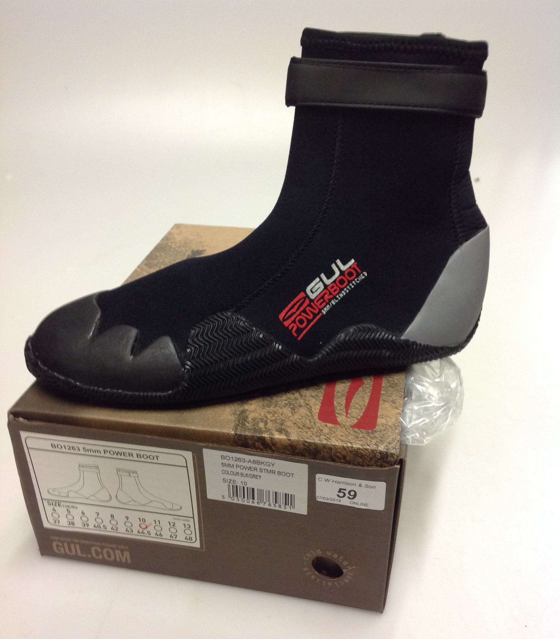 Lot 59 - Pair of Gul 5MM Power STMR boots black and grey - size 10