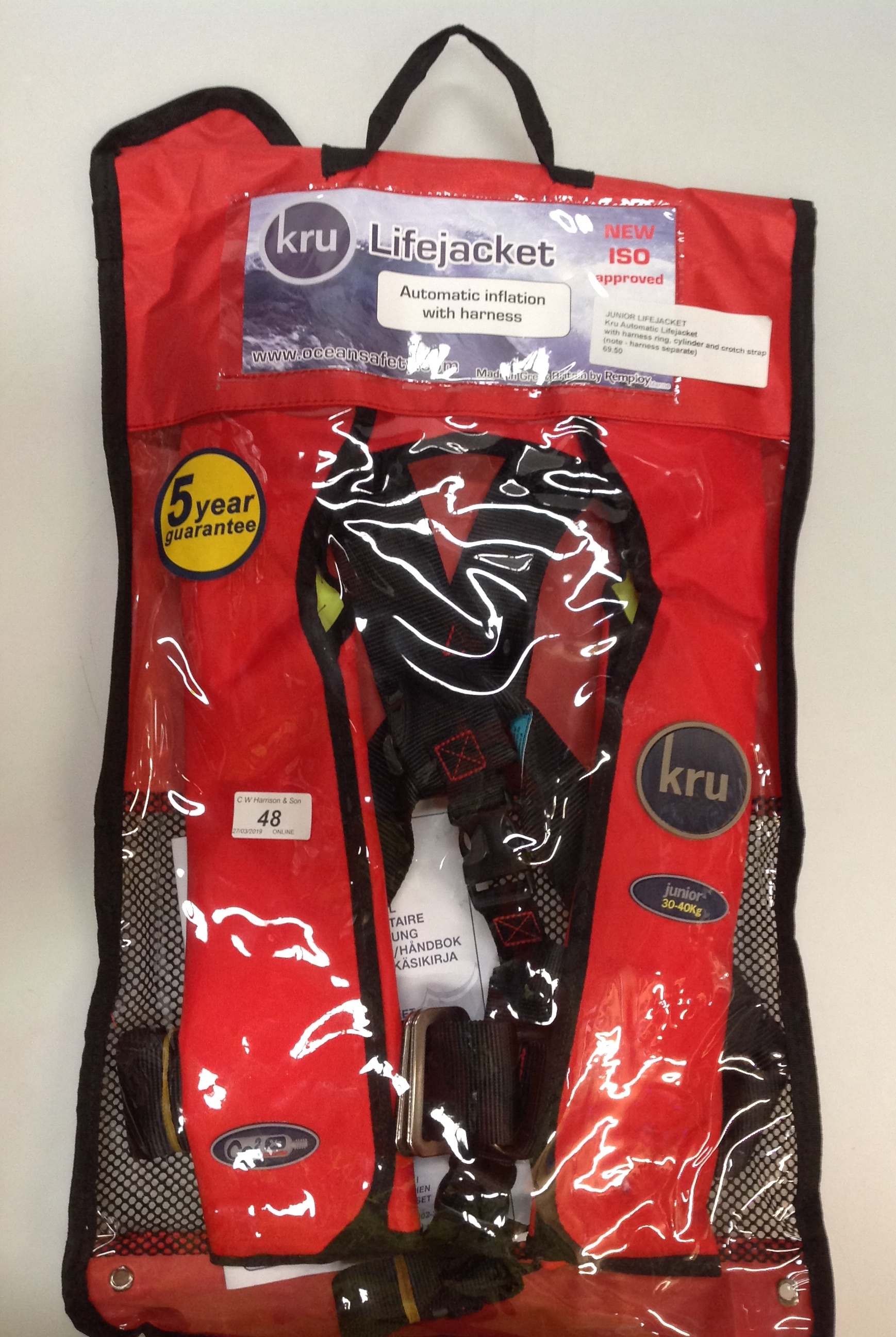 Lot 48 - KRU Commodore Junior automatic life jacket with harness