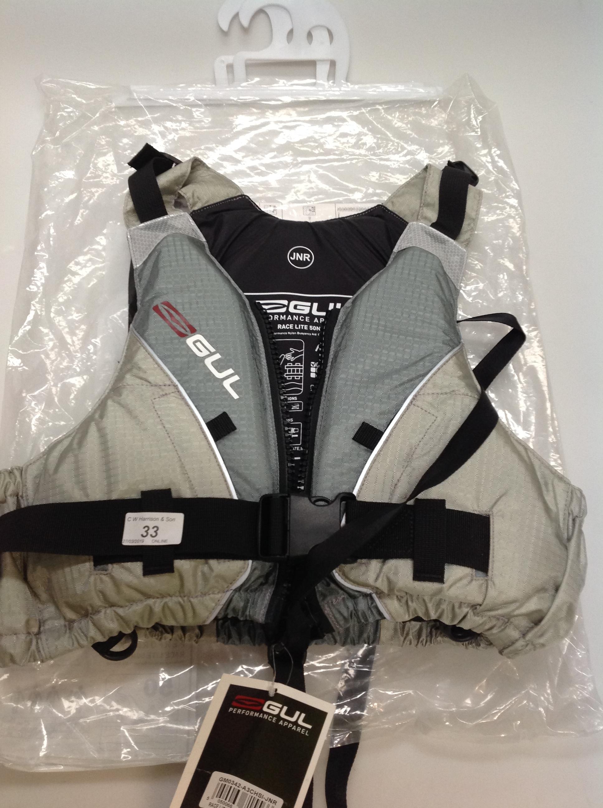 Lot 33 - Gul Race Lite 5ON buoyancy aid in silver - size junior