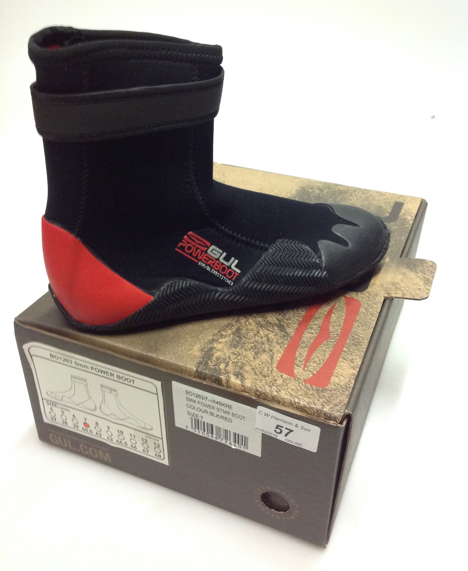 Lot 57 - Pair of Gul 5MM Power STMR boots red and black- size 7