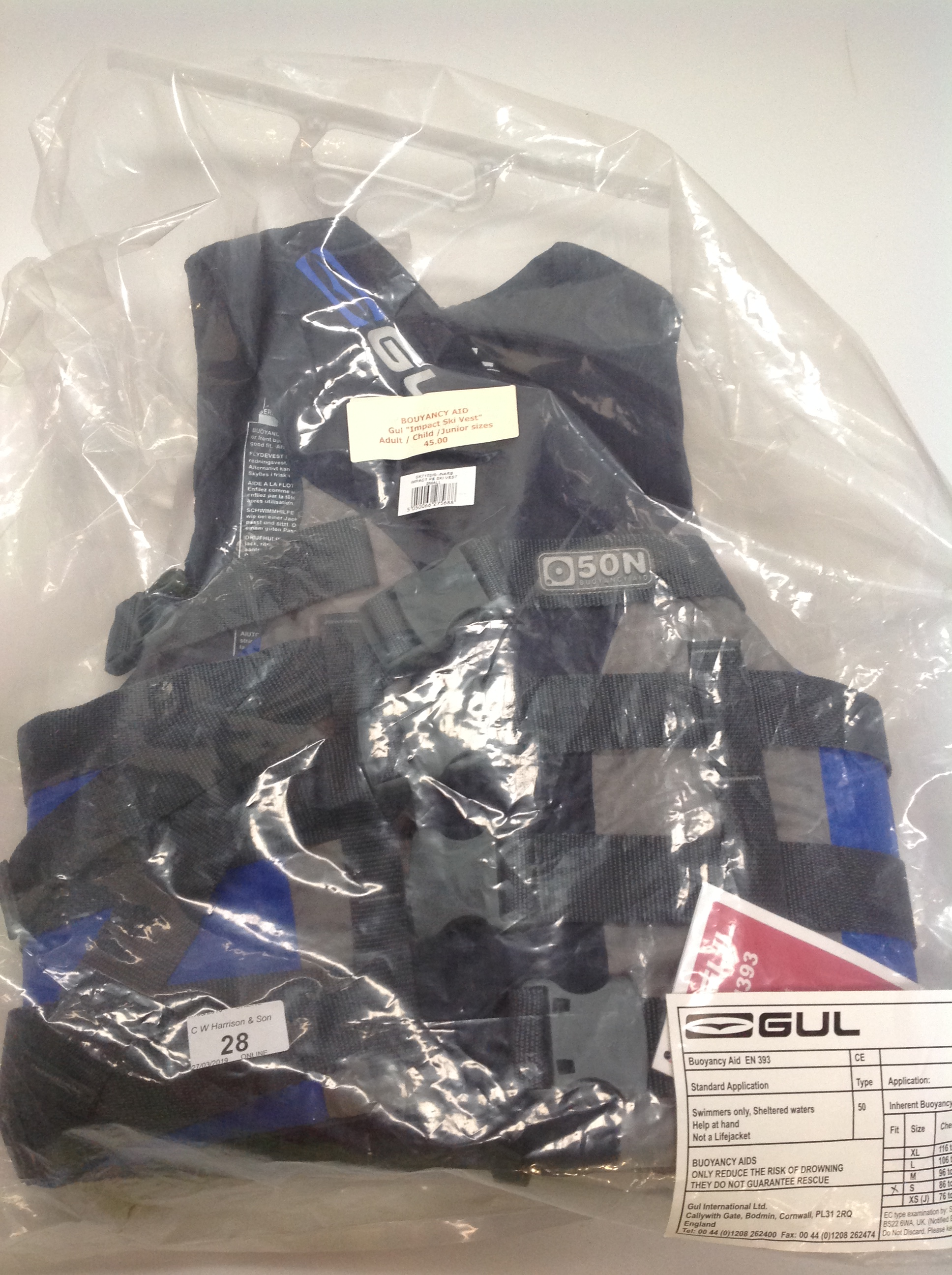 Lot 28 - Gul Impact ski vest buoyancy aid in grey and blue - size S RRP £45