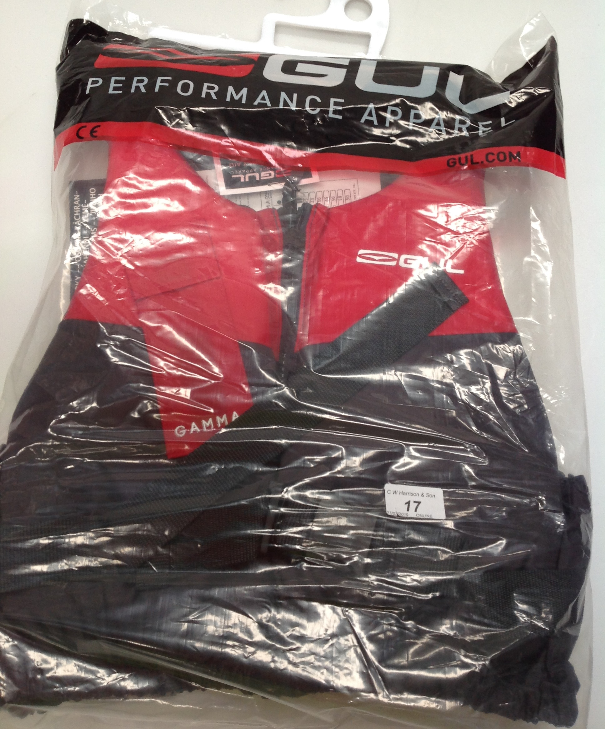 Lot 17 - Gul Gamma 5ON buoyancy aids in red and grey - size L