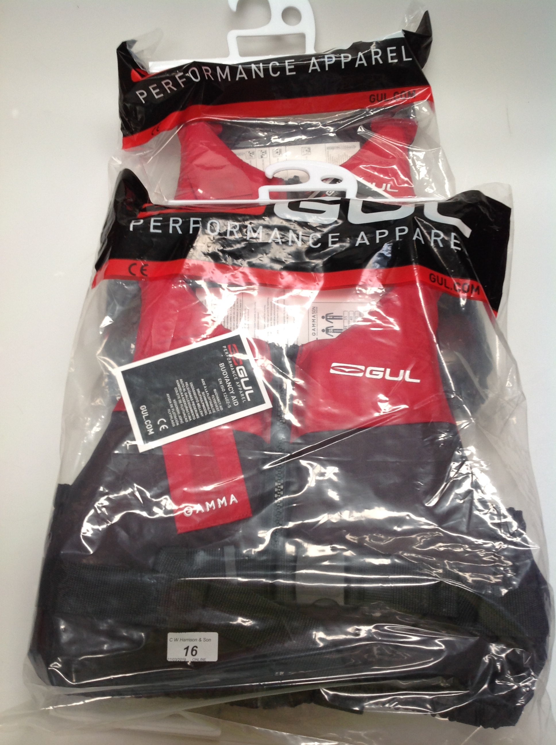 Lot 16 - 2 x Gul Gamma 5ON buoyancy aids in red and grey - size S