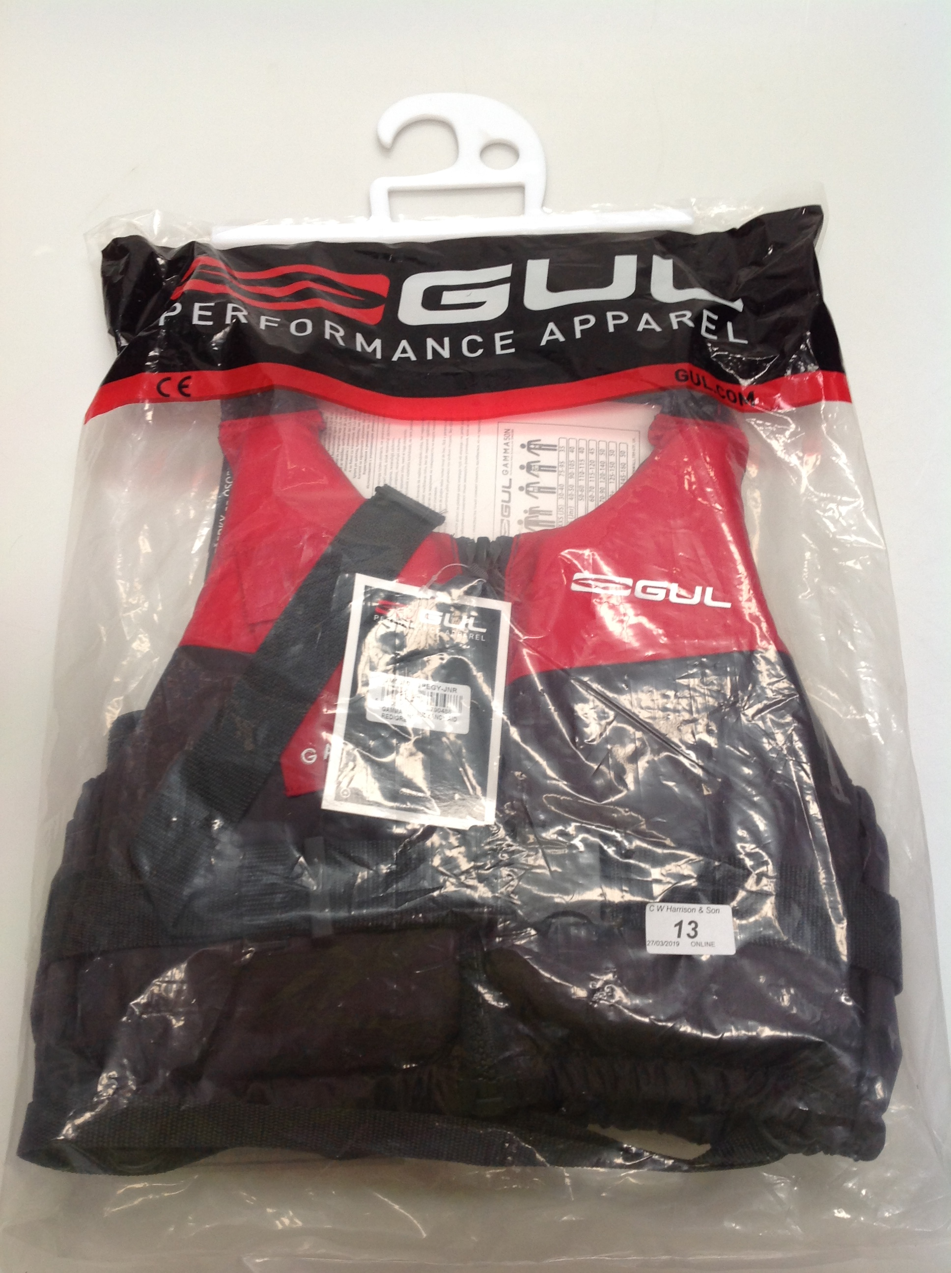 Lot 13 - Gul Gamma 5ON buoyancy aid in red and grey - size XS (junior) (RRP £36)