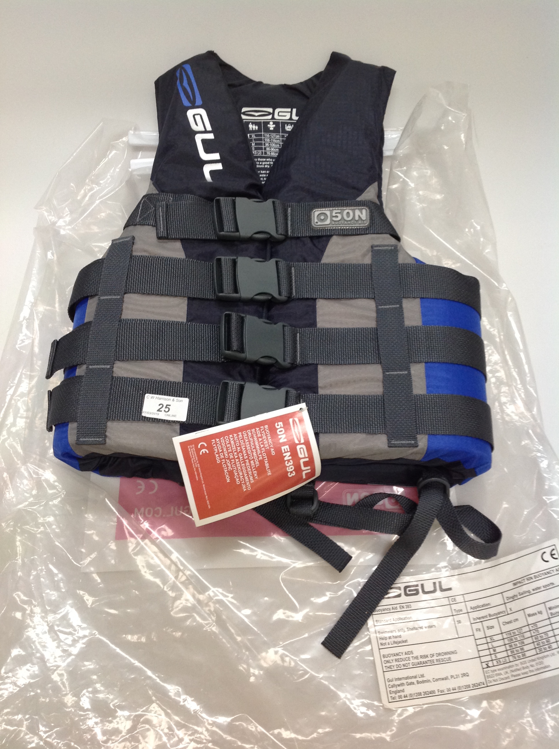 Lot 25 - Gul Impact ski vest buoyancy aid in grey and blue - size XS RRP £45