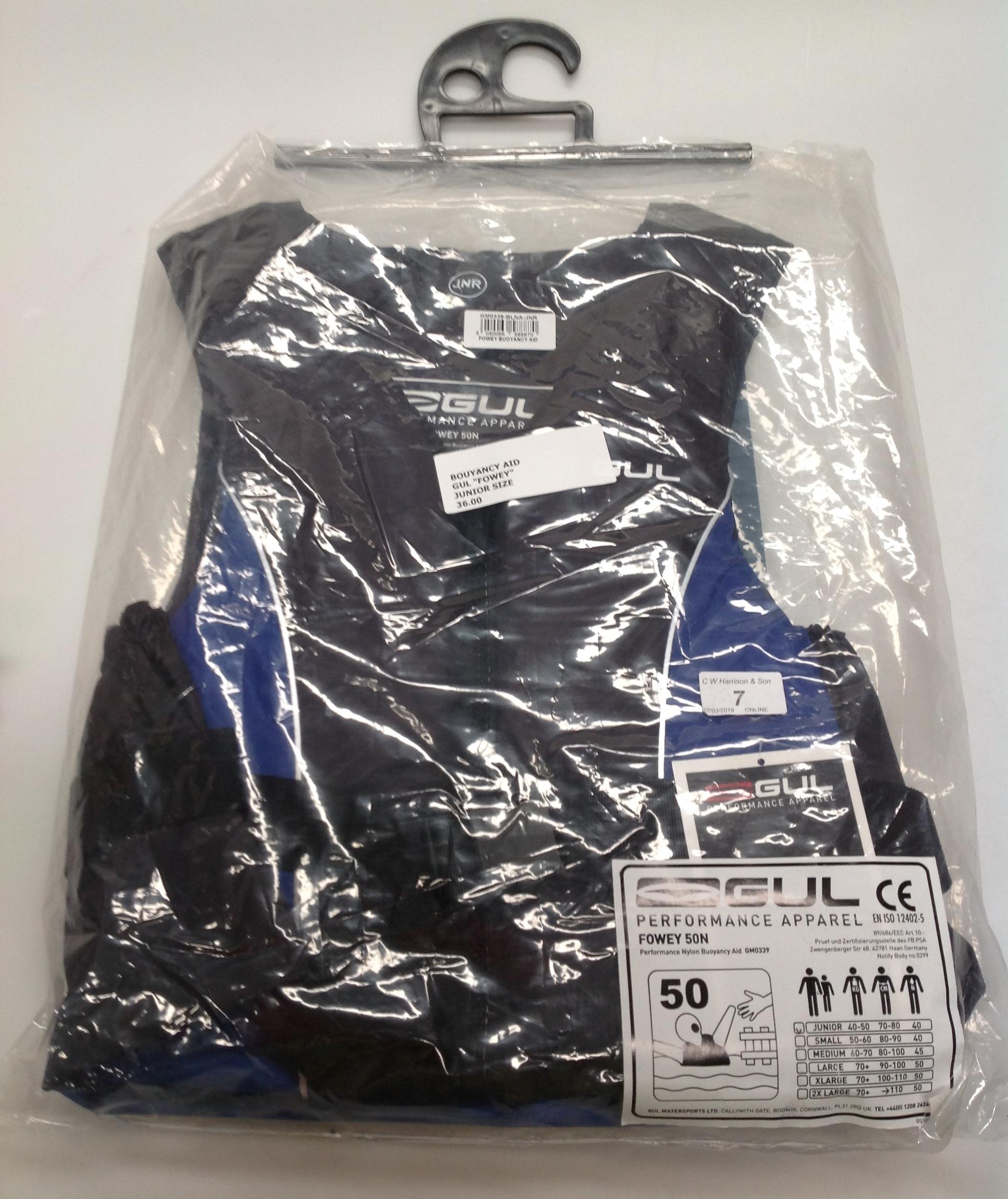Lot 7 - Gul Fowey 5ON buoyancy aid in blue and black - size junior (RRP £36)