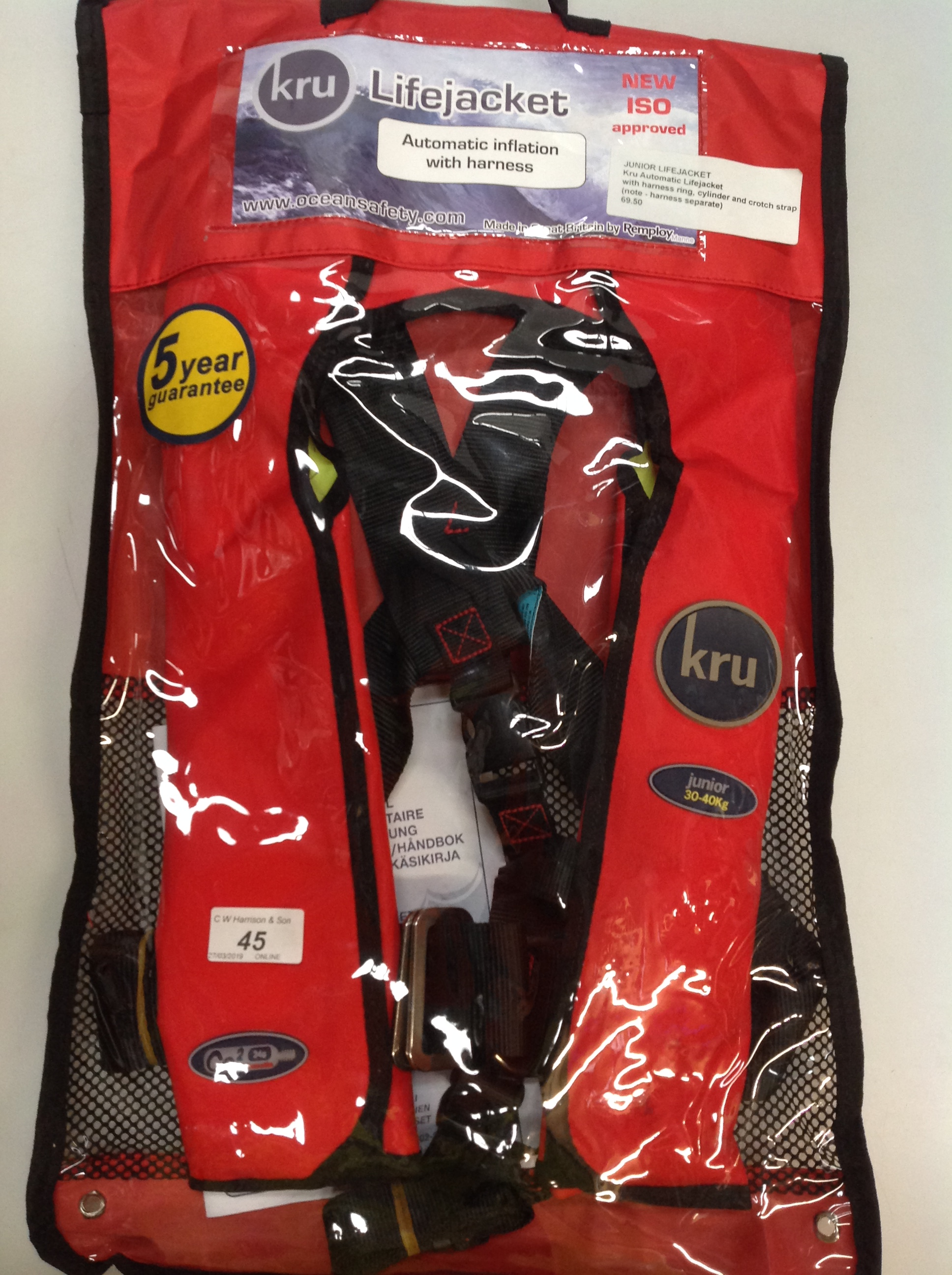 Lot 45 - KRU Commodore Junior automatic life jacket with harness