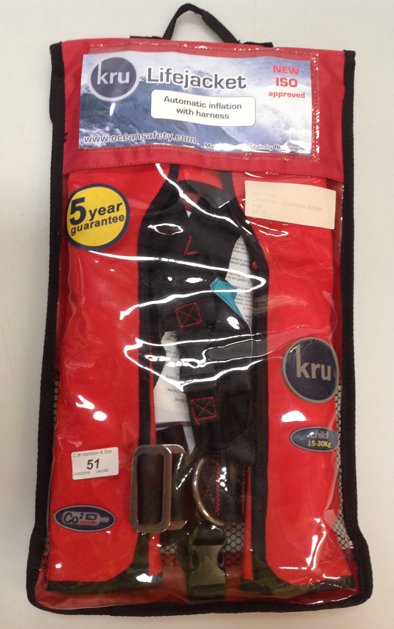 Lot 51 - KRU child life jacket with automatic action and harness
