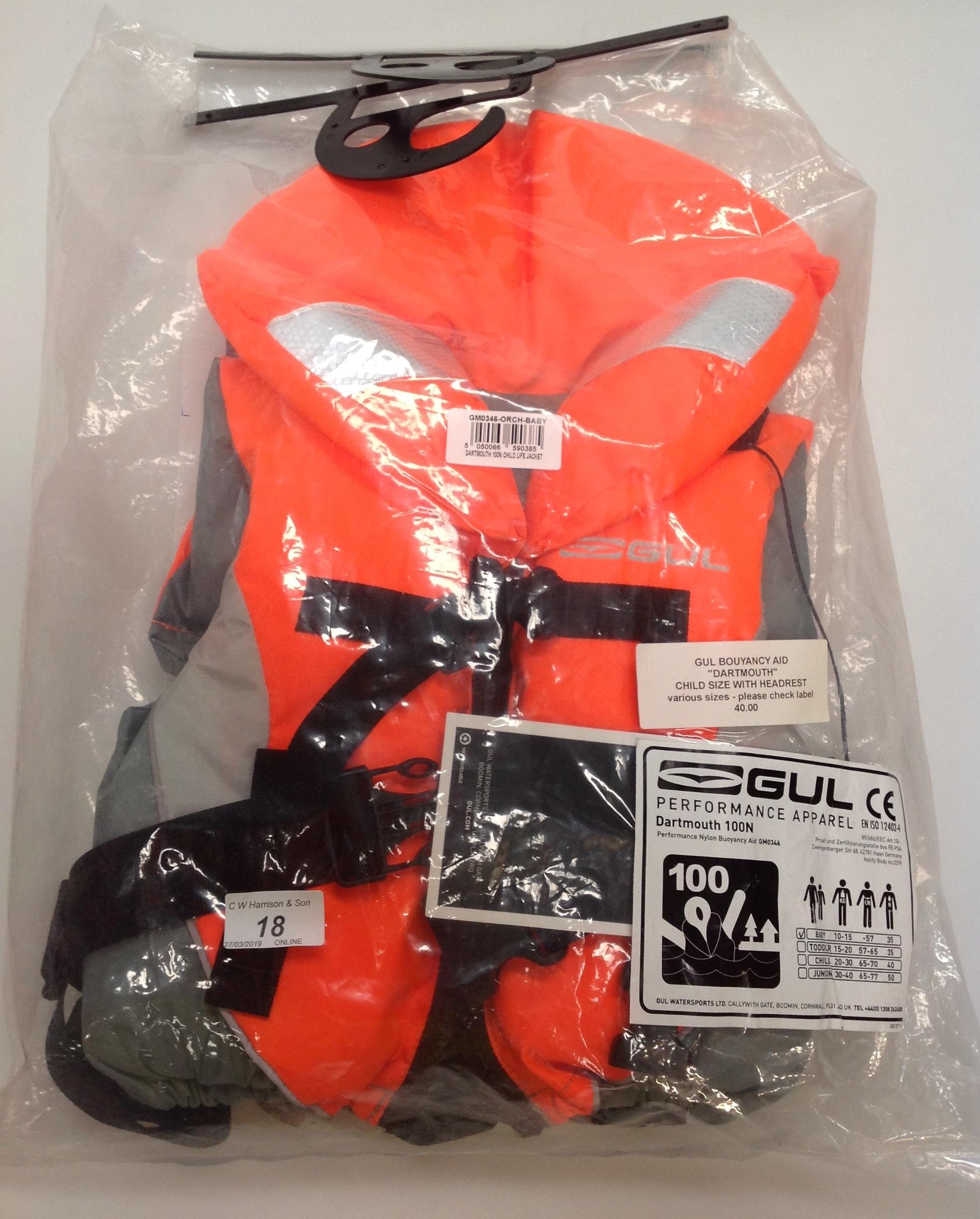 Lot 18 - Gul Dartmouth 100N buoyancy aid - size baby RRP £40