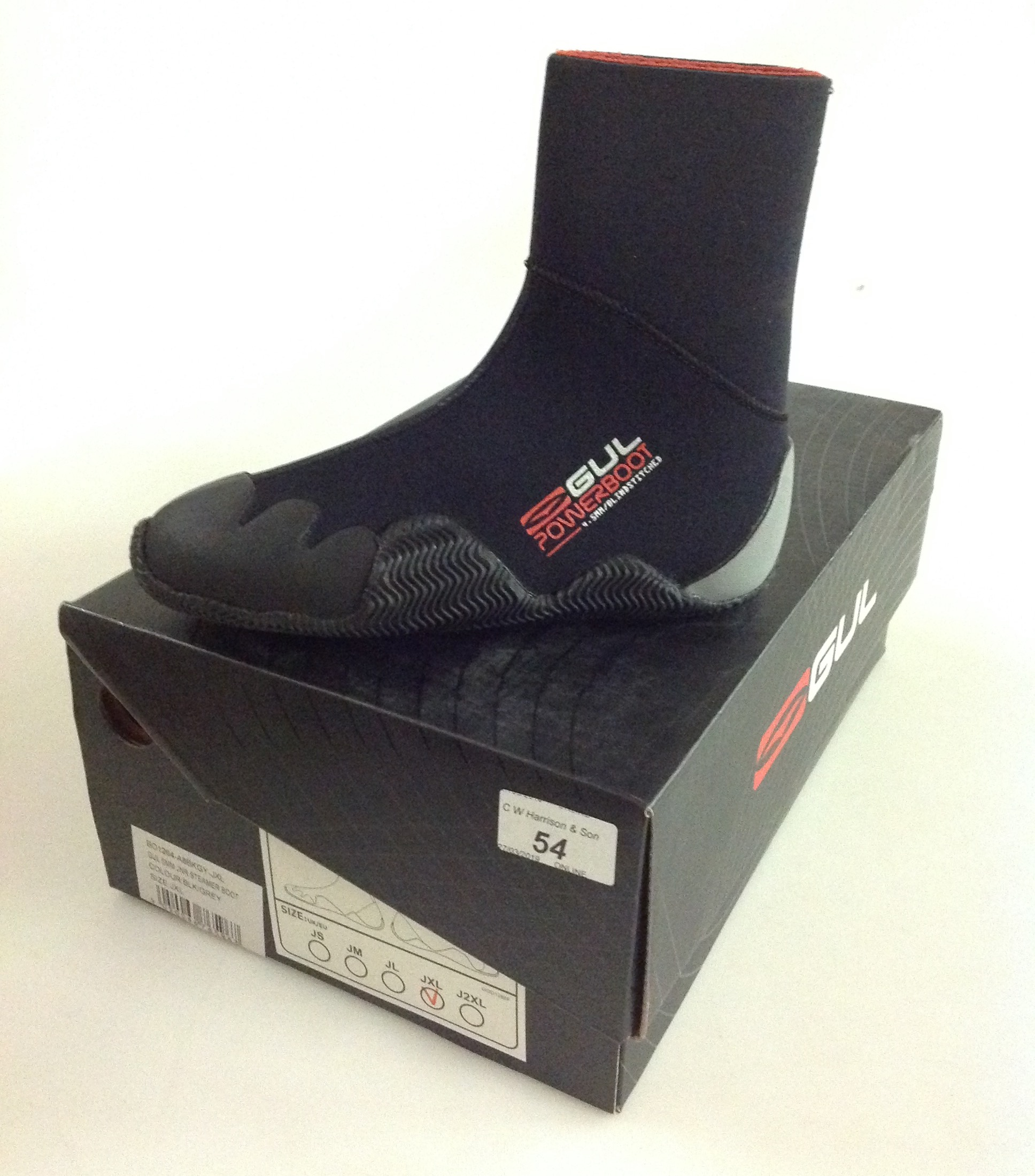 Lot 54 - Gul 5MM Jnr Steamer boot black and grey- size JXL
