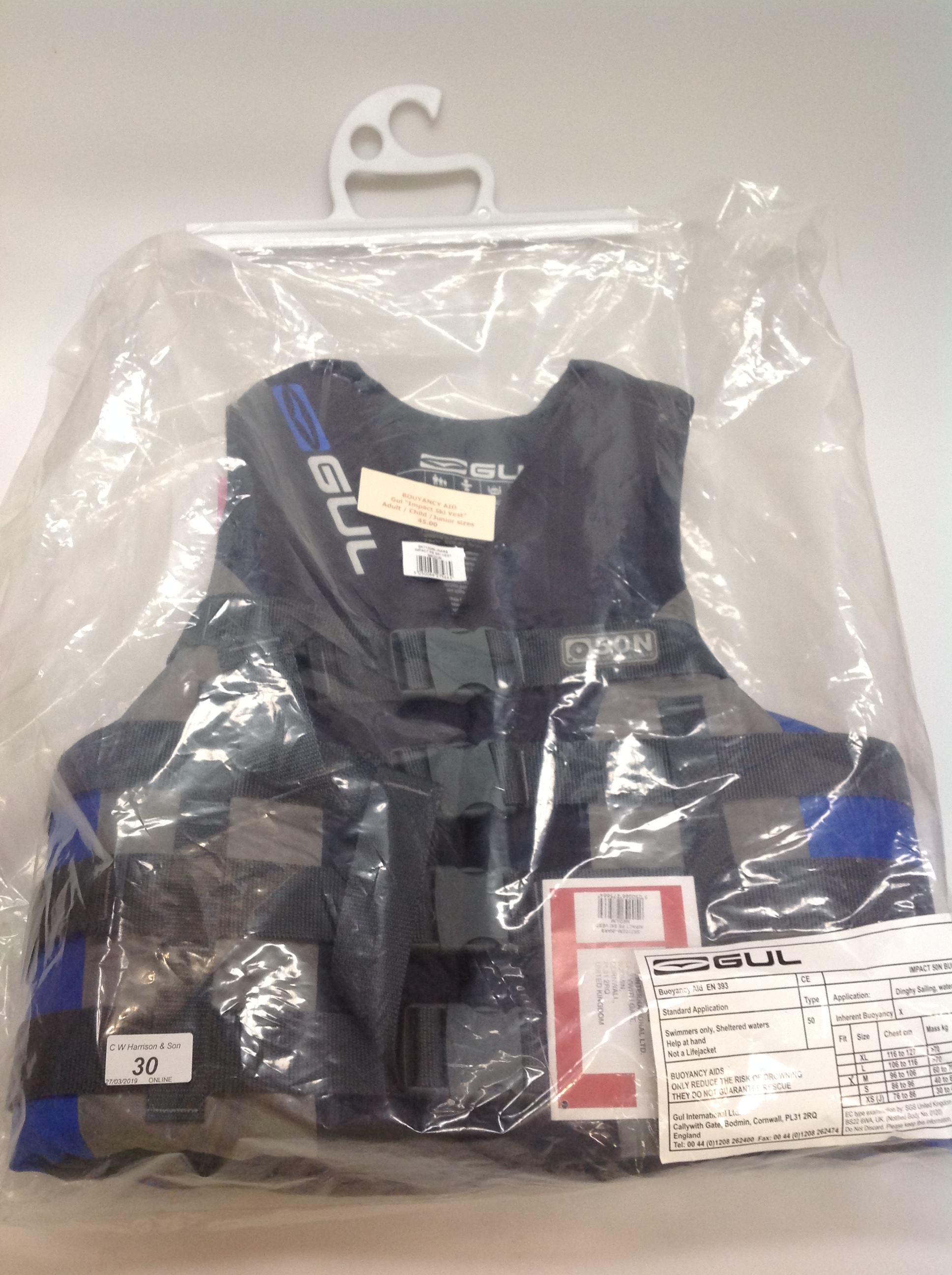 Lot 30 - Gul Impact ski vest buoyancy aid in grey and blue - size M RRP £45