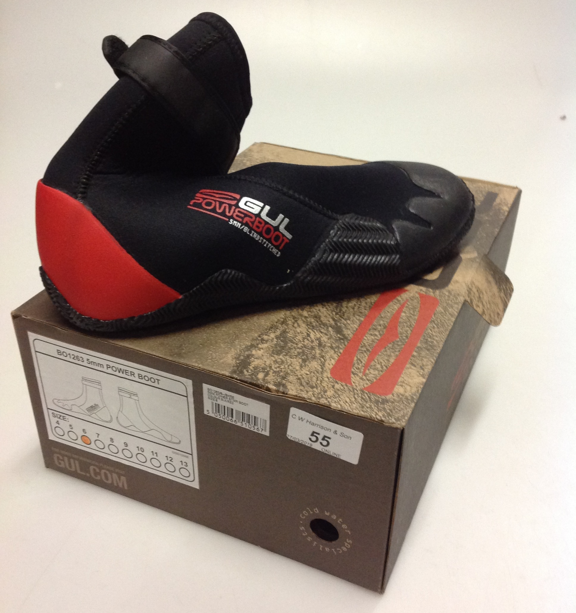 Lot 55 - Pair of Gul 5MM Power STMR boots red and black- size 6