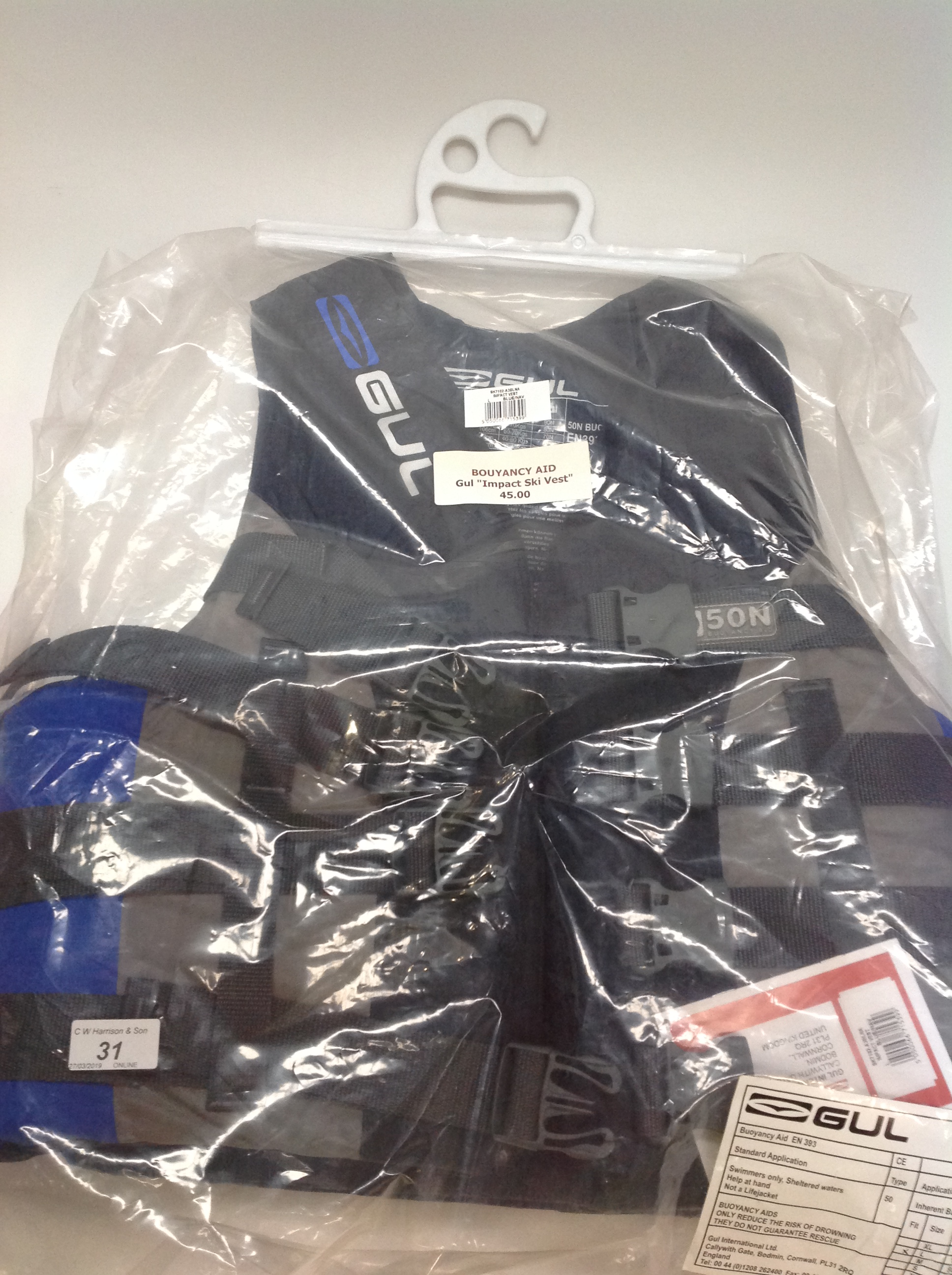 Lot 31 - Gul Impact ski vest buoyancy aid in grey and blue - size L RRP £45