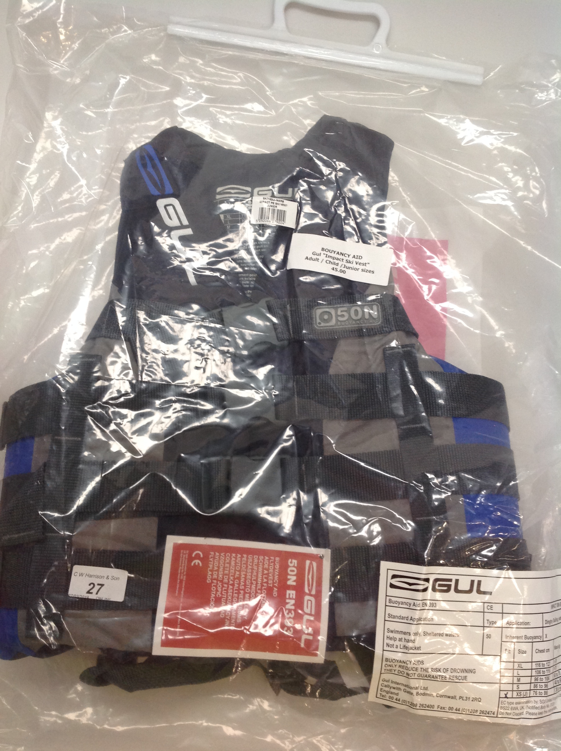 Lot 27 - Gul Impact ski vest buoyancy aid in grey and blue - size XS RRP £45