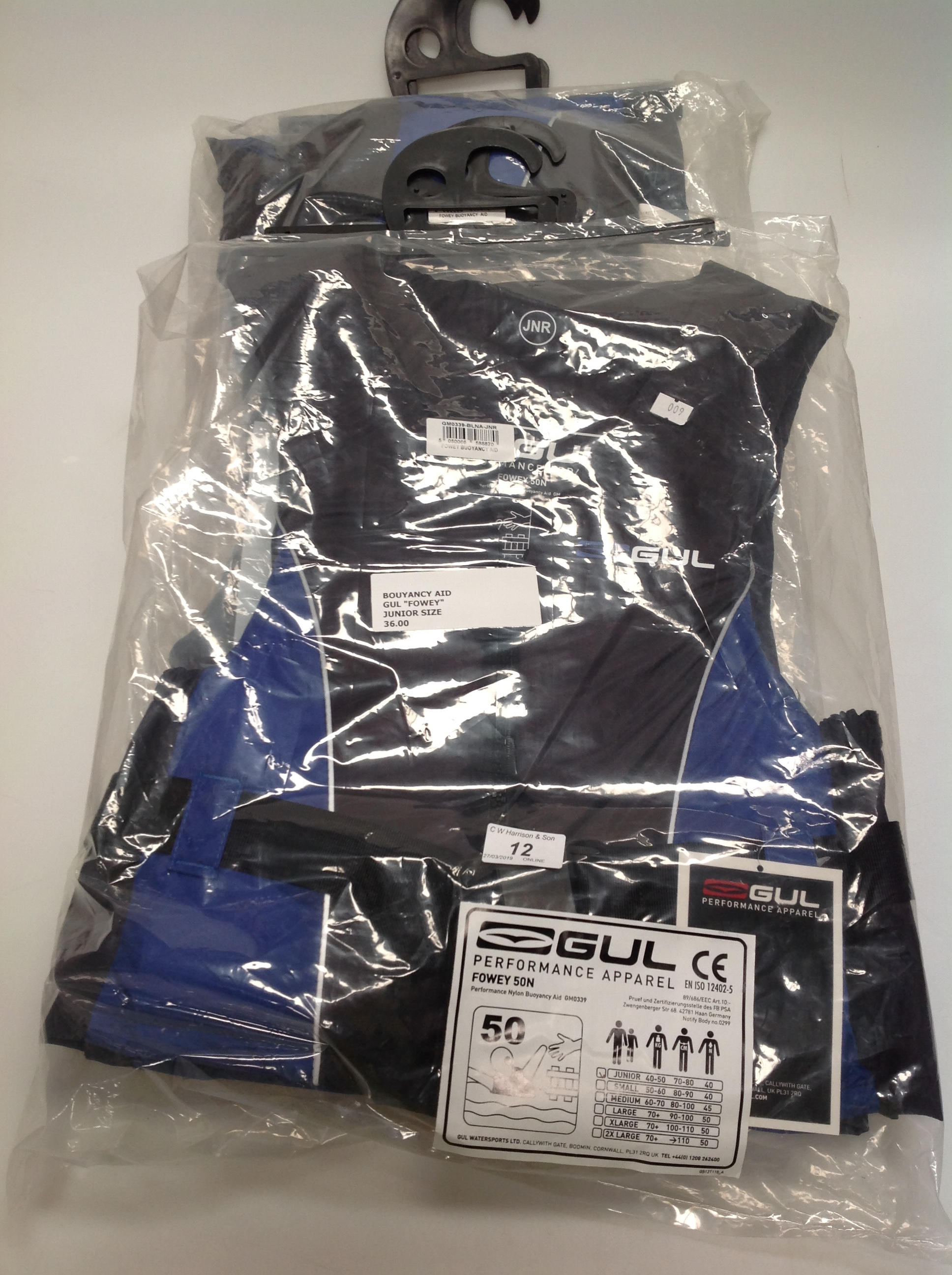 Lot 12 - 2 x Gul Fowey 5ON buoyancy aids in blue and black - size junior (RRP £36)
