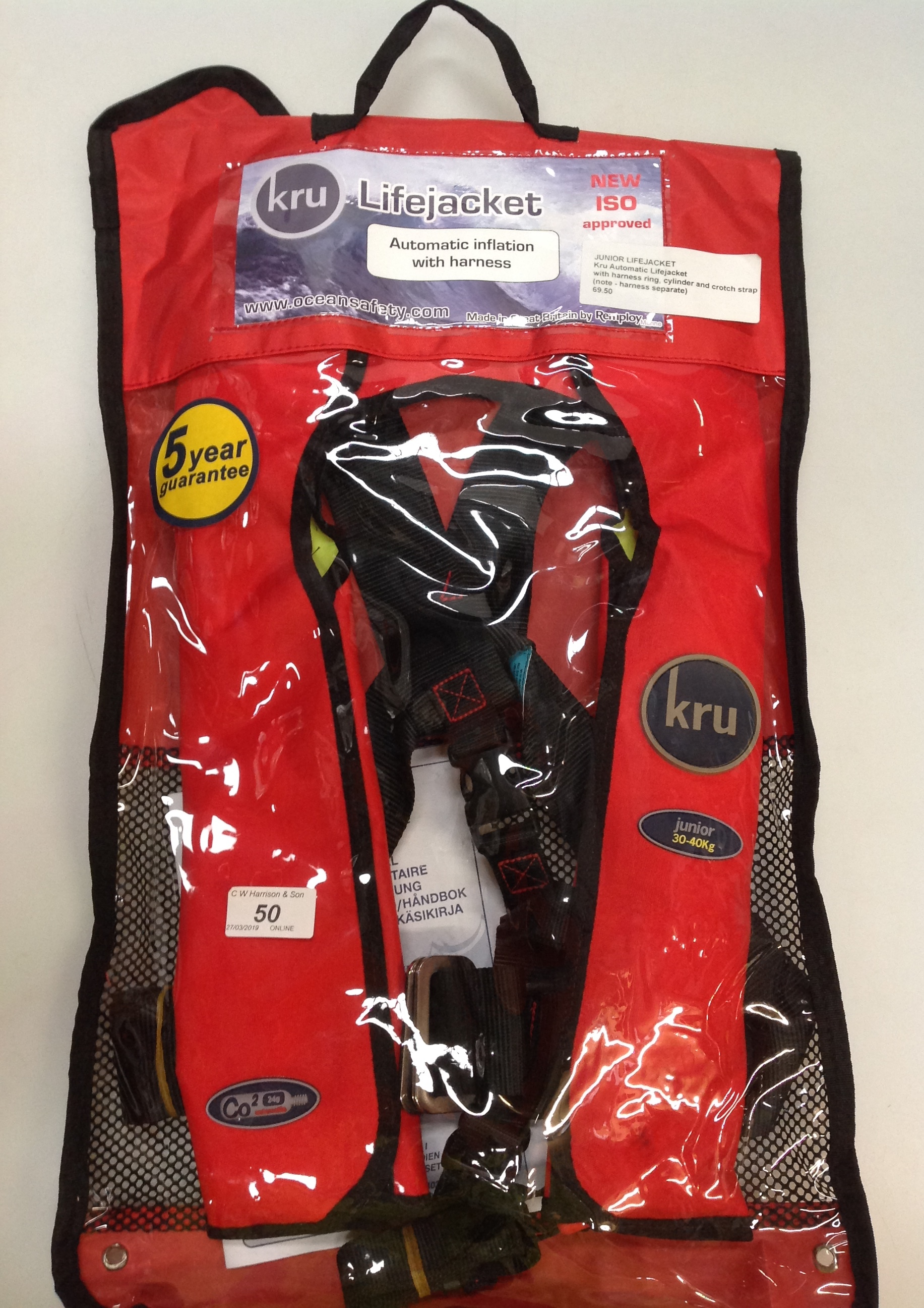 Lot 50 - KRU Commodore Junior automatic life jacket with harness