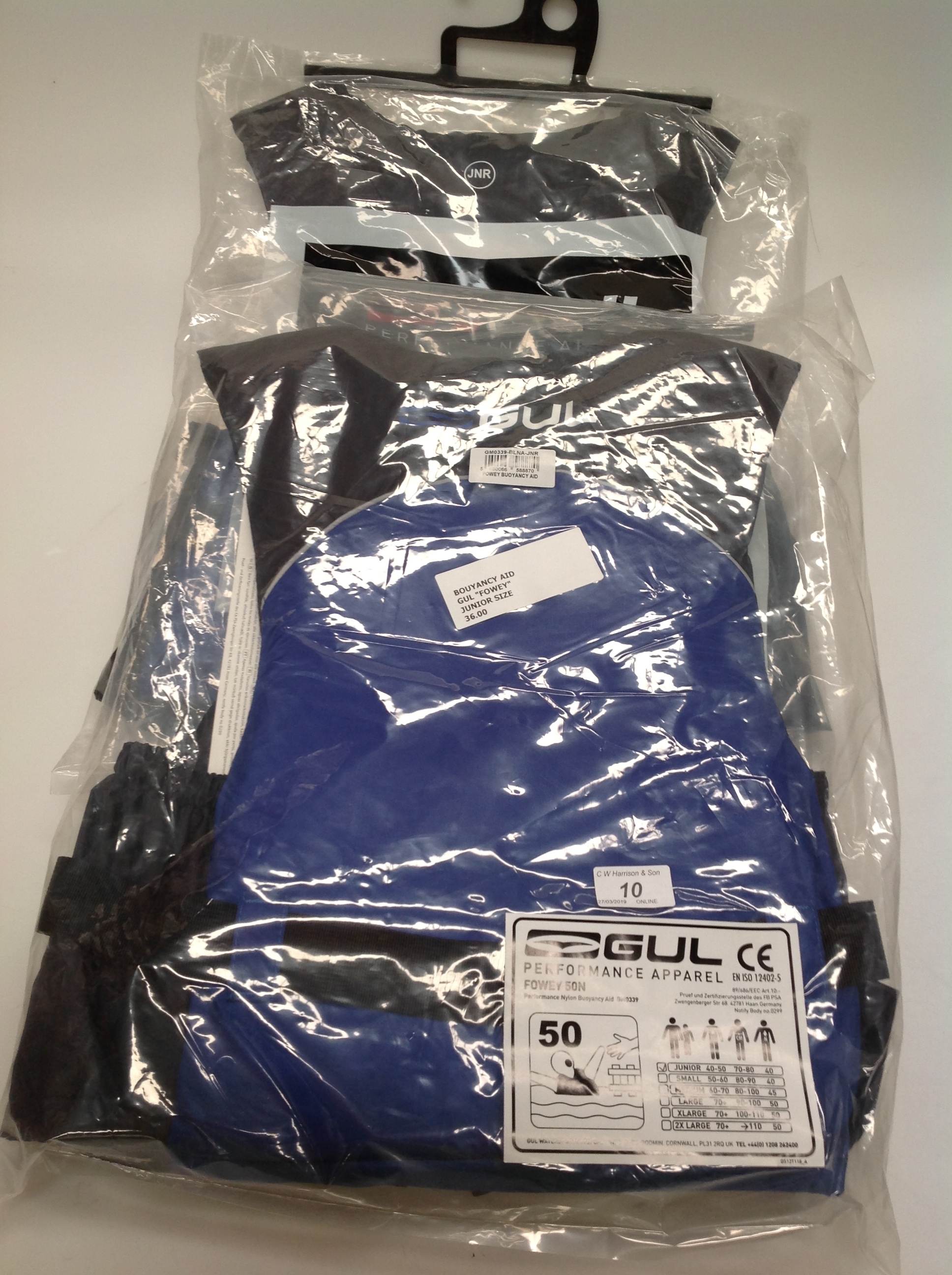 Lot 10 - 2 x Gul Fowey 5ON buoyancy aids in blue and black - size junior (RRP £36)