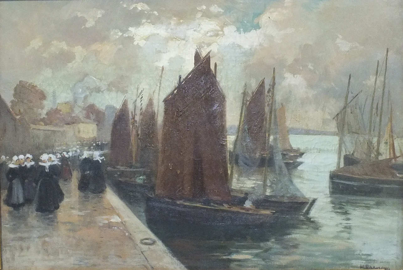 Lot 15 - Circle of Henri Alphonse Barnoin (1882-1940) FISHING BOATS IN A BRETON HARBOUR WITH NUMEROUS FIGURES