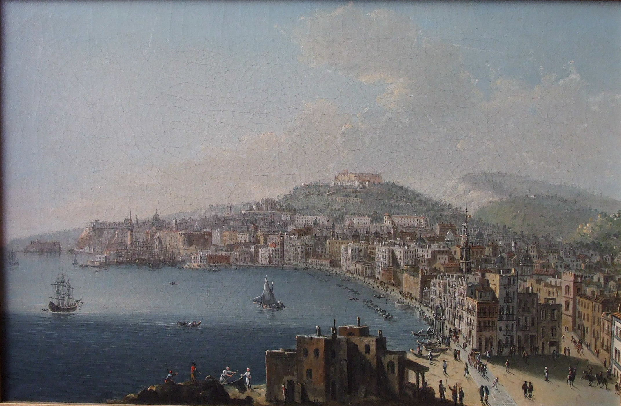 Lot 10 - 19th century Neapolitan School EXTENSIVE VIEW OF NAPLES Unsigned oil on canvas, 30.5 x 47cm, (