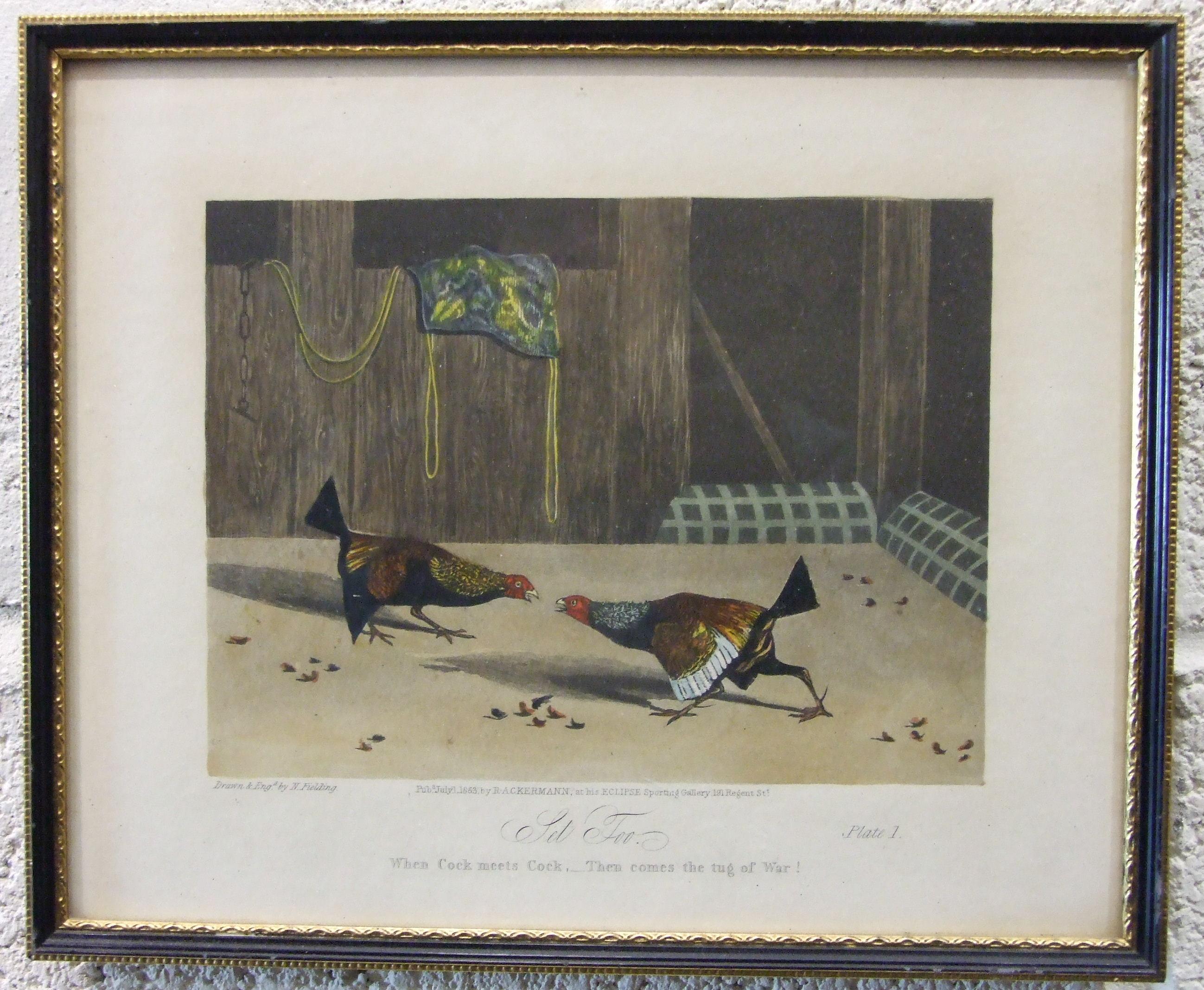 Lot 42 - After N Fielding, a set of six cock fighting prints, pub. R A Ackermann 1853, 22 x 27cm, (6).