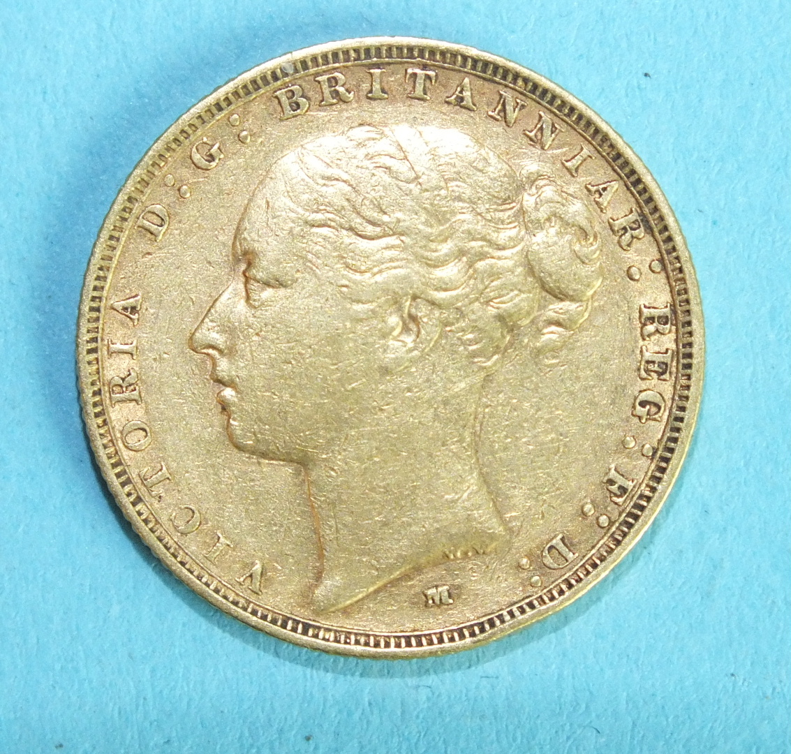Lot 352 - A Queen Victoria 1883 sovereign.