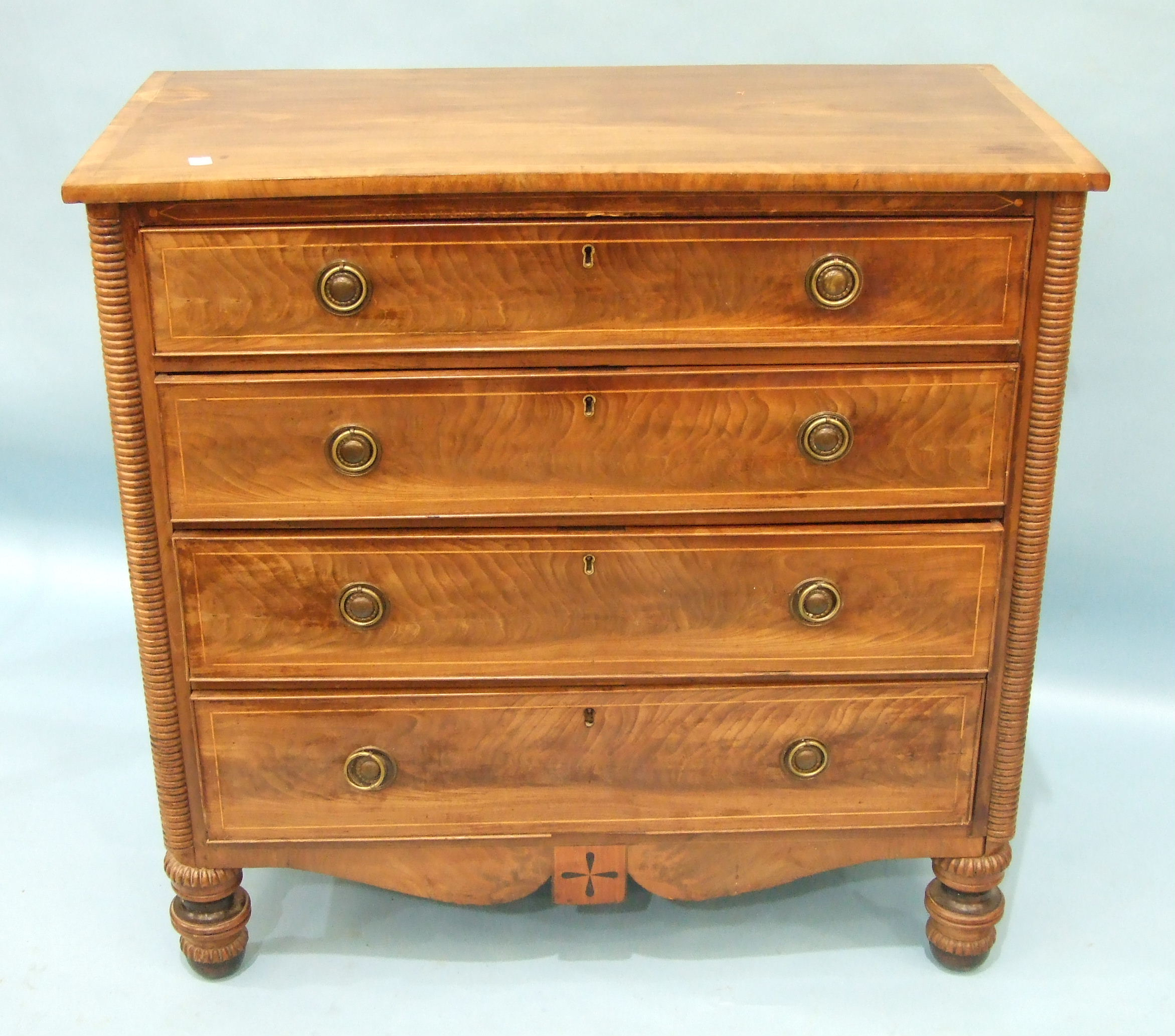 Lot 89 - A late-Georgian Scottish inlaid mahogany chest, the rectangular cross-banded top above four
