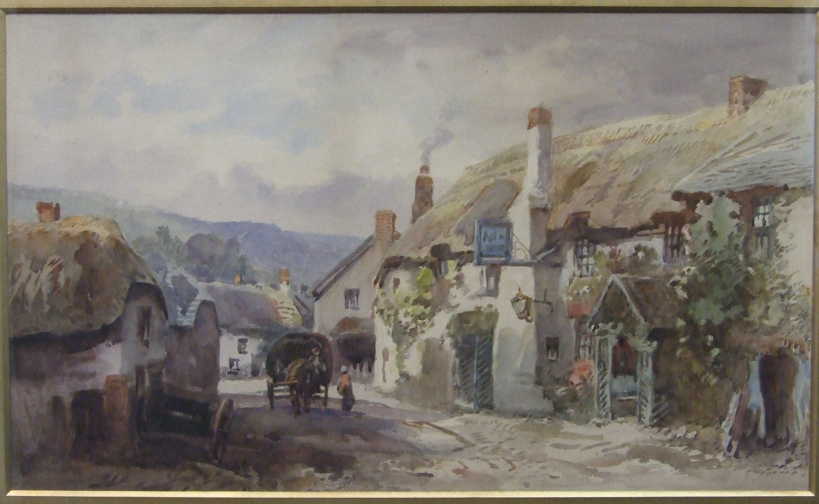Lot 34 - Alfred Leyman (1856-1933) (Attrib.) WAGONS AND FIGURES OUTSIDE A THATCHED INN Unsigned