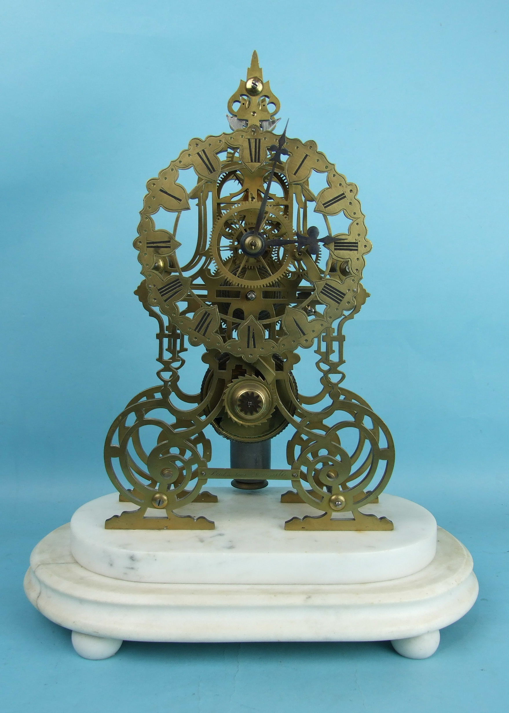Lot 126 - Reid & Sons, Newcastle, a 19th century brass skeleton time piece having a single chain-driven