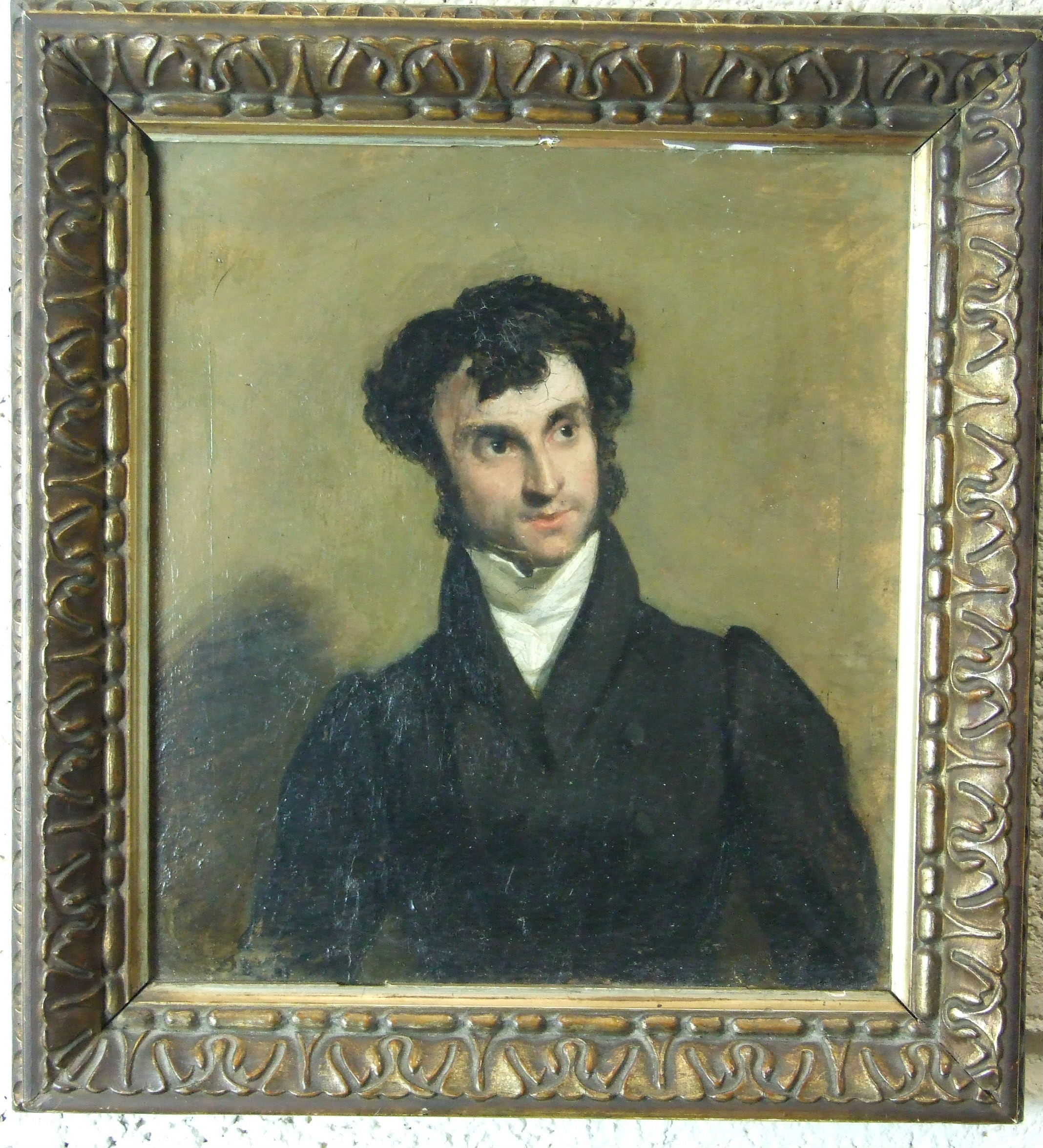 Lot 1 - 19th century English School PORTRAIT OF HARRY HATTON, DRESSED IN A DARK COAT AND WHITE STOCK