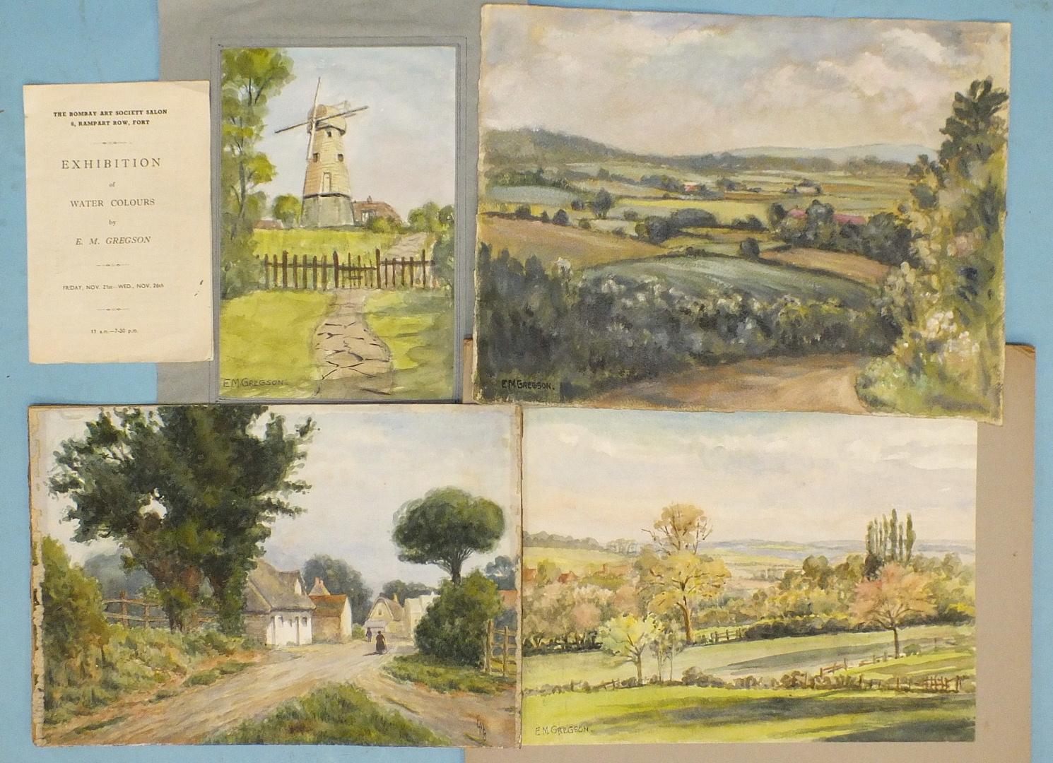 Lot 29 - E M Gregson, a book of watercolour sketches of Indian landscapes, including Bandadara, Srinagar,