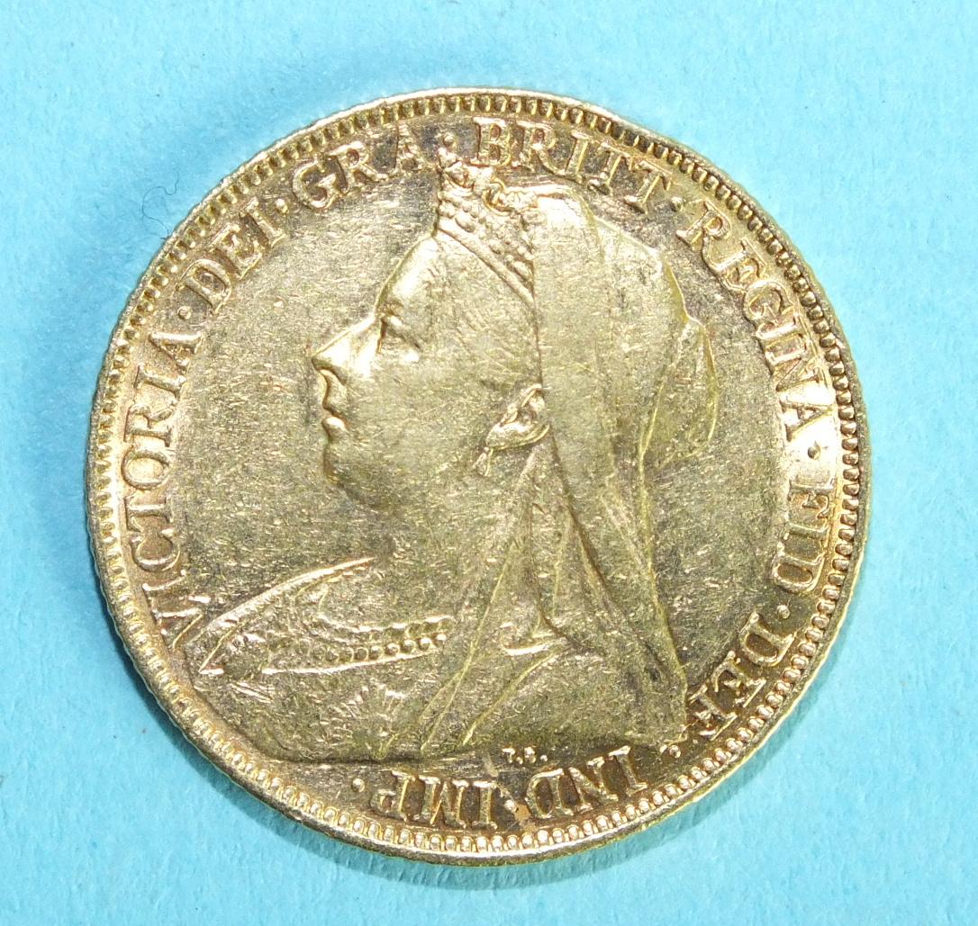 Lot 367 - A Queen Victoria 1899 sovereign, Melbourne Mint.