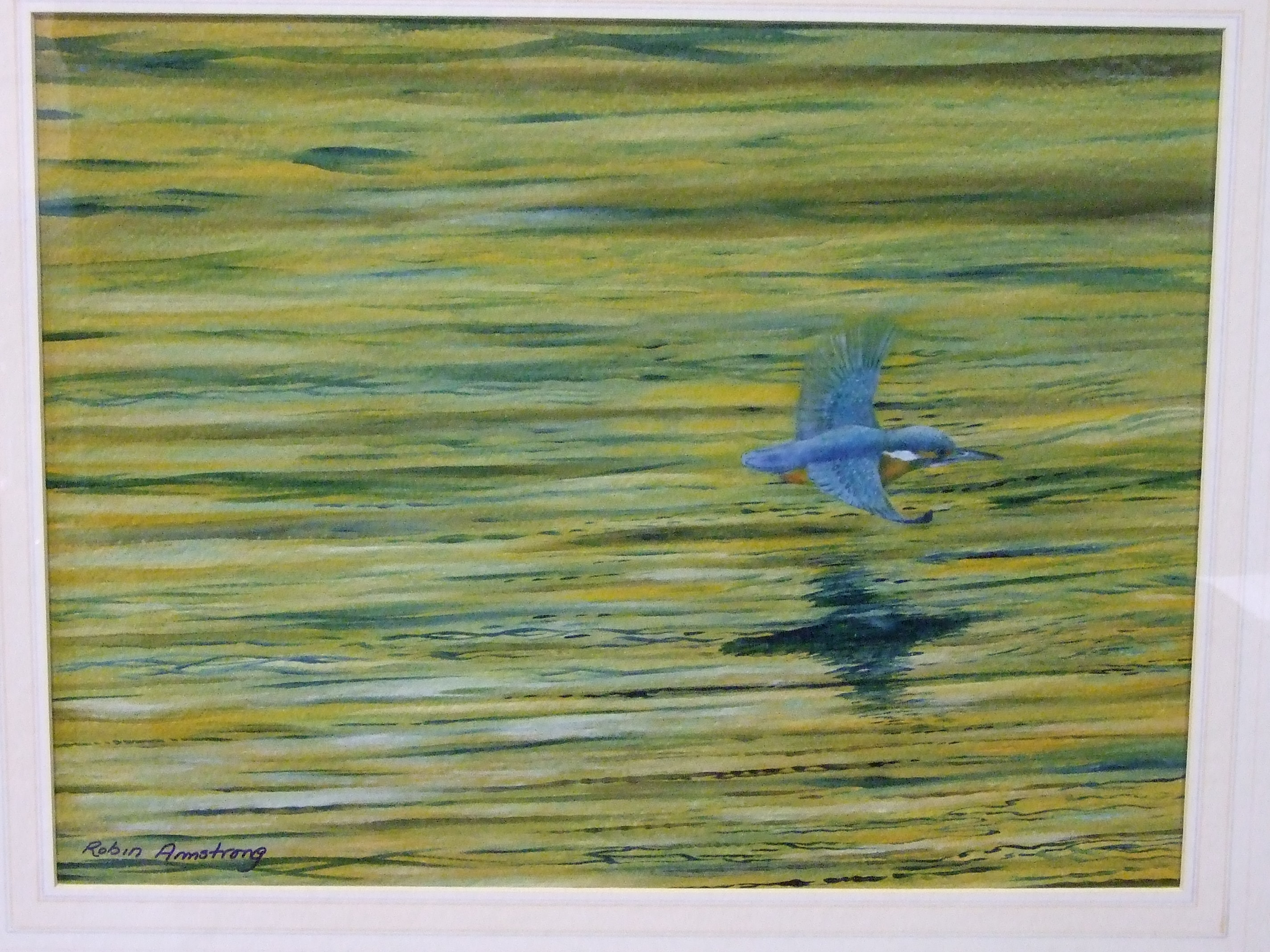 Lot 11 - •Robin Armstrong (20th century) STUDY OF A KINGFISHER FISHING IN THE EVENING LIGHT Signed oil on
