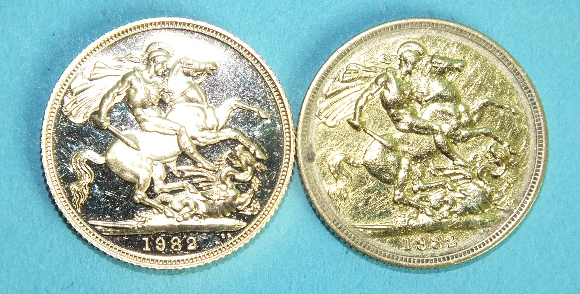 Lot 383 - Two Elizabeth II 1982 sovereigns, (one with scratches), (2).