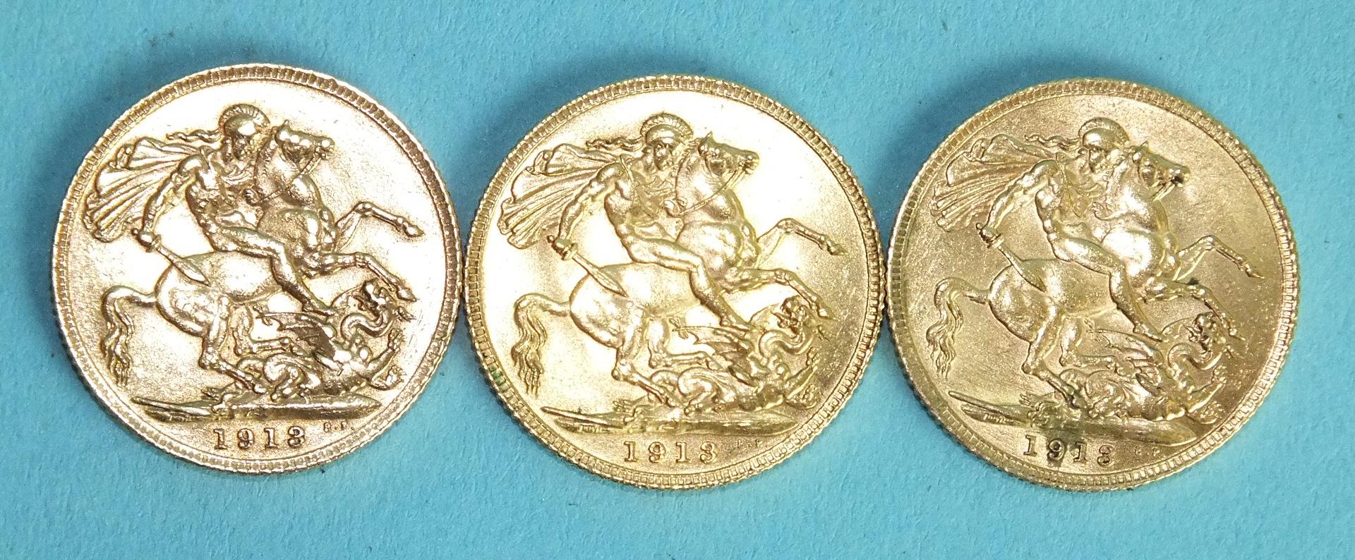Lot 375 - Three George V 1913 sovereigns, (3).