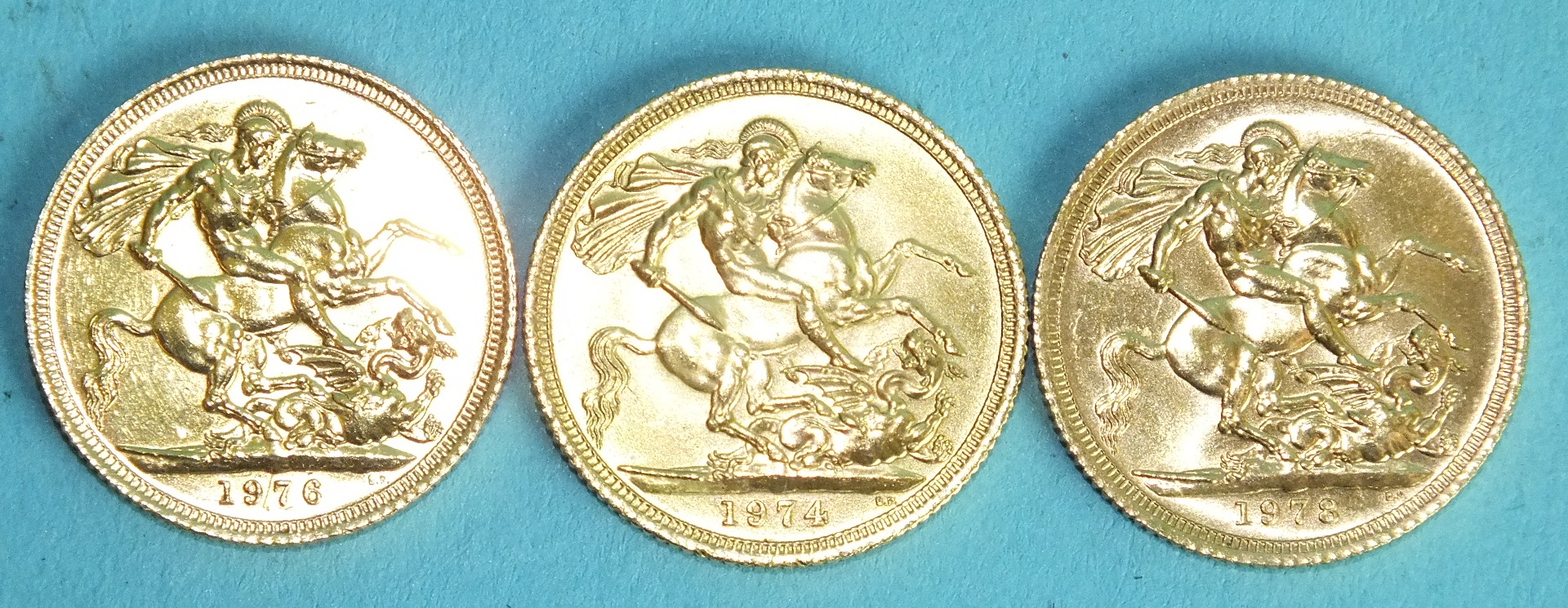 Lot 381 - Three Elizabeth II sovereigns, 1974, 1976 and 1978, (3).