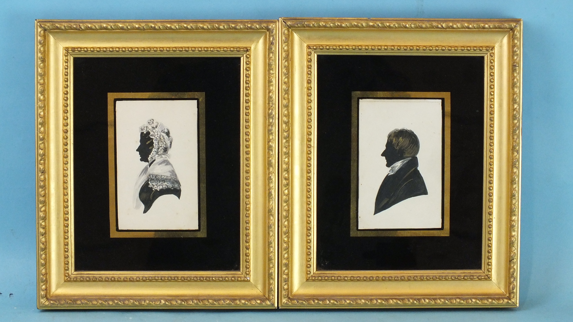 Lot 25 - A portrait silhouette 'NOBLE JOHNSON, MAYOR OF CORK', 1809, 11 x 8cm and a companion, 'ANNE