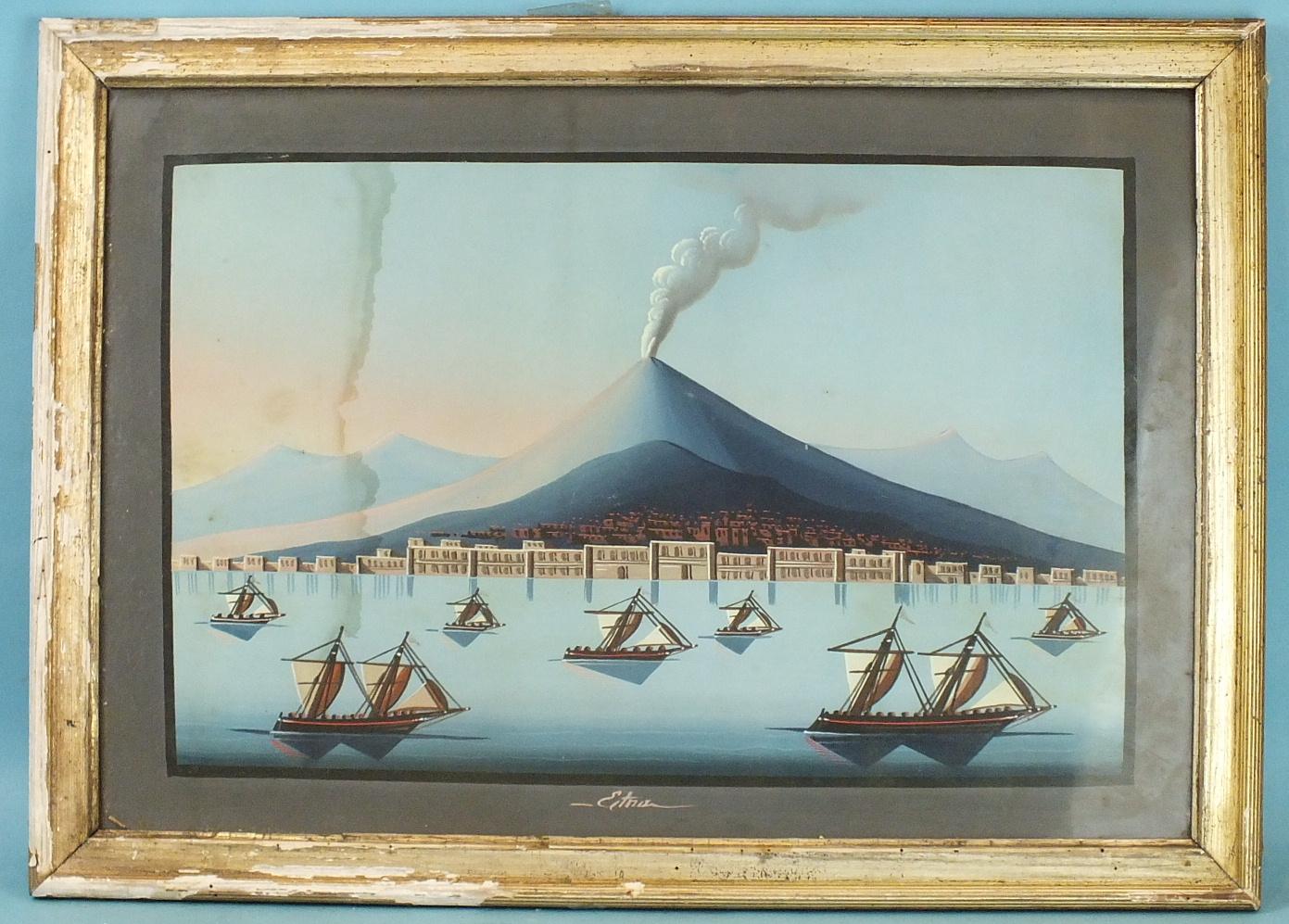 Lot 35 - Naïve Neapolitan School MOUNT ETNA ERUPTING Unsigned gouache, dated 1871 and a companion, MOUNT ETNA