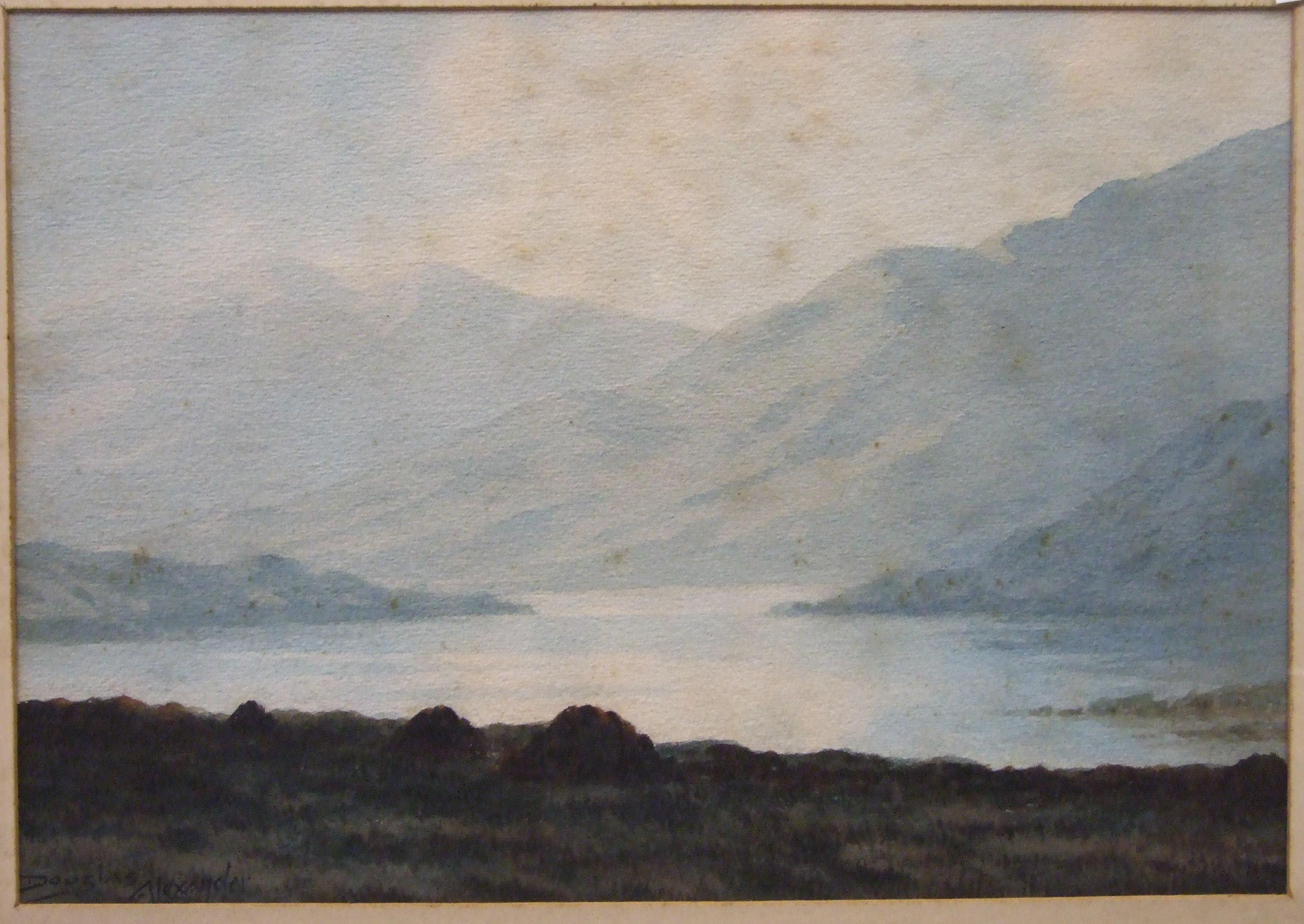 Lot 37 - Douglas Alexander RHA (1871-1945) MOUNTAINOUS LAKE SCENE Signed watercolour, 26 x 36cm and a